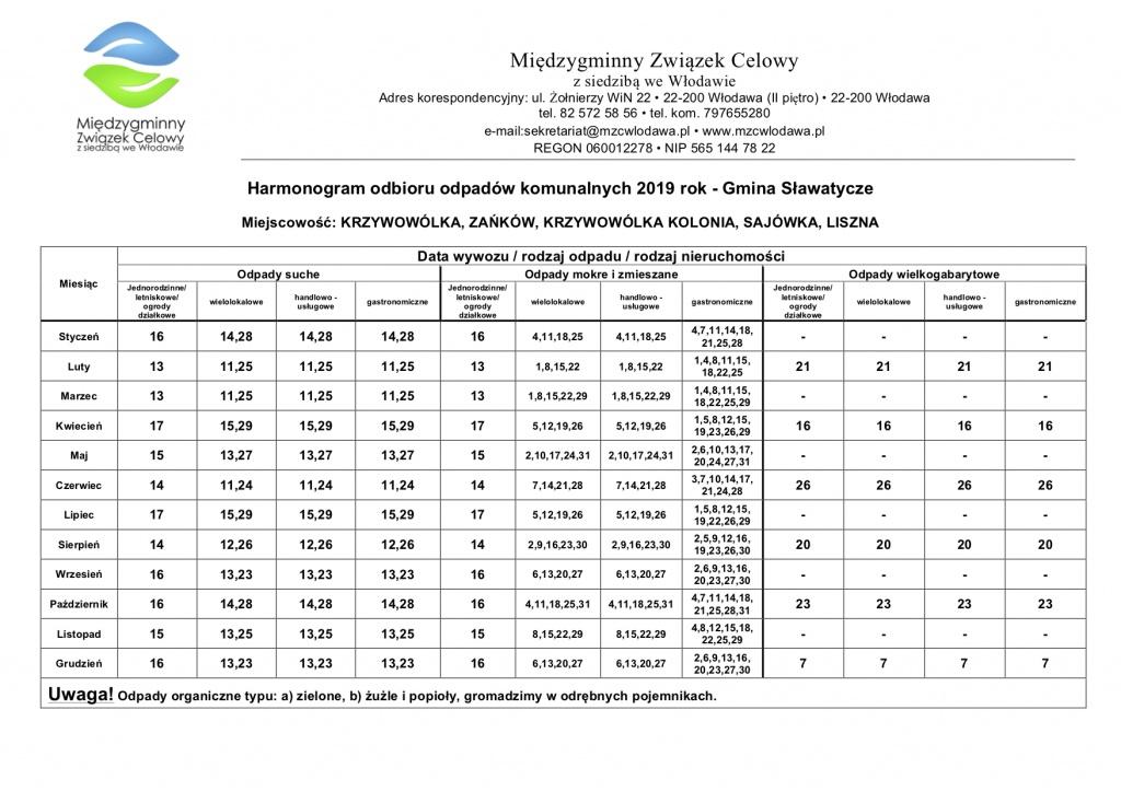 Harmonogram 2019 Sławatycze Trasa 2