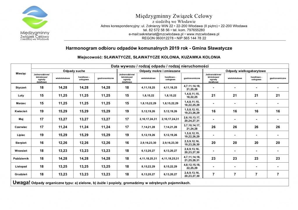 Harmonogram 2019 Sławatycze Trasa 3