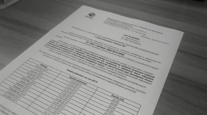 Trwa doręczanie informacji o opłatach za gospodarowanie odpadami komunalnymi