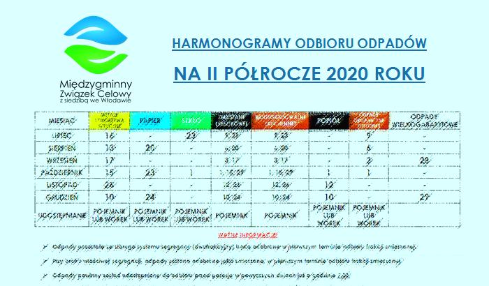 Harmonogramy odbioru odpadów na II półrocze