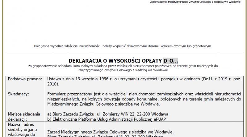 Nowy wzór deklaracji D-O(7)